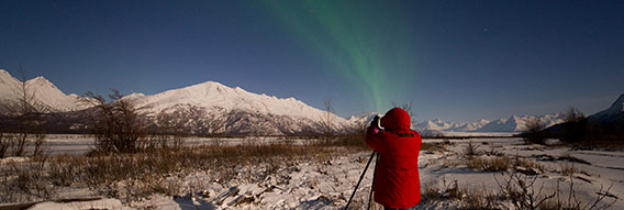 JF and auroras at Knik River